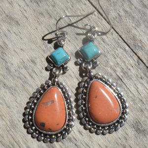 Coral Turquoise Southwestern Concho Earrings Hook